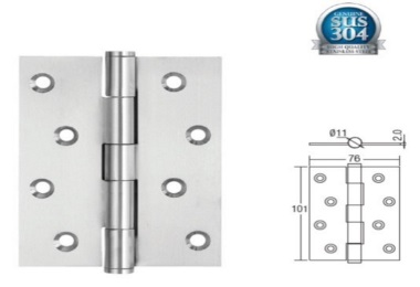 "SGDH-743020-SS 4""x3""x2mm SUS304 Stainless Steel Hinge"